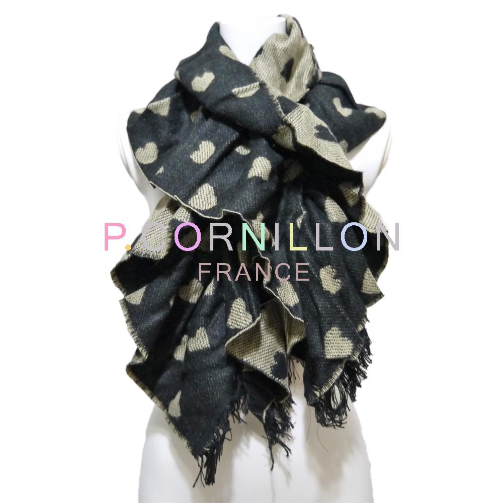 P.cornillon フランス製 ハート リバーシブル シャーリングマフラー 黒×ベージュ ピーコルニヨン