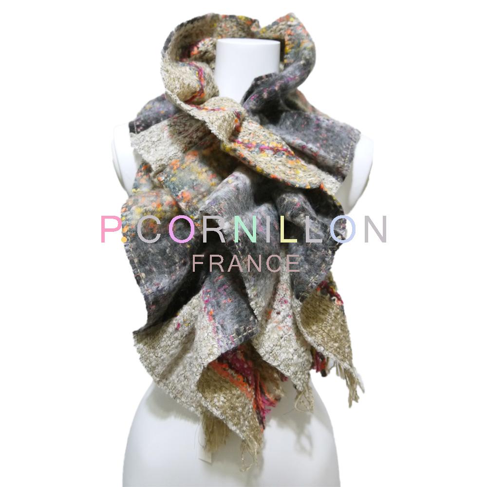 P.cornillon フランス製 ツイード シャーリングマフラー ベージュ×グレー ピーコルニヨン