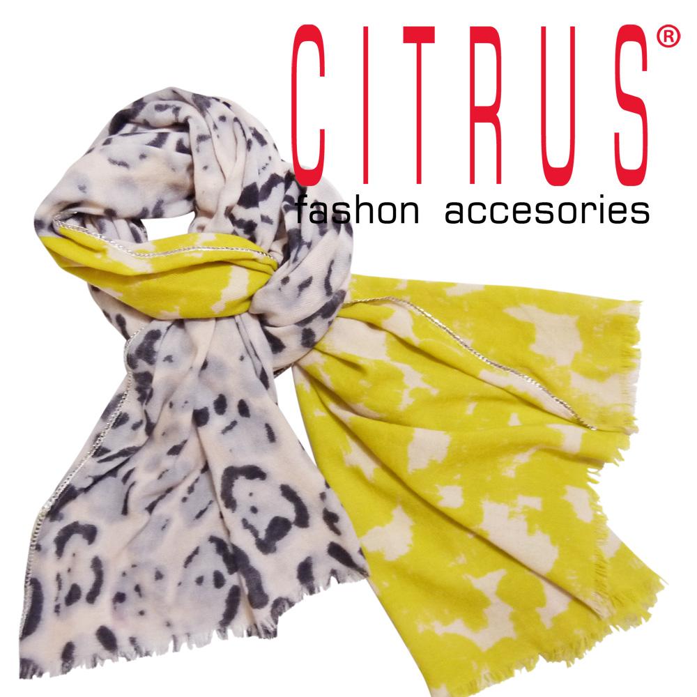 シトラス インド製 チェーン付 レオパード柄ウールストール イエロー×ピンク CITRUS