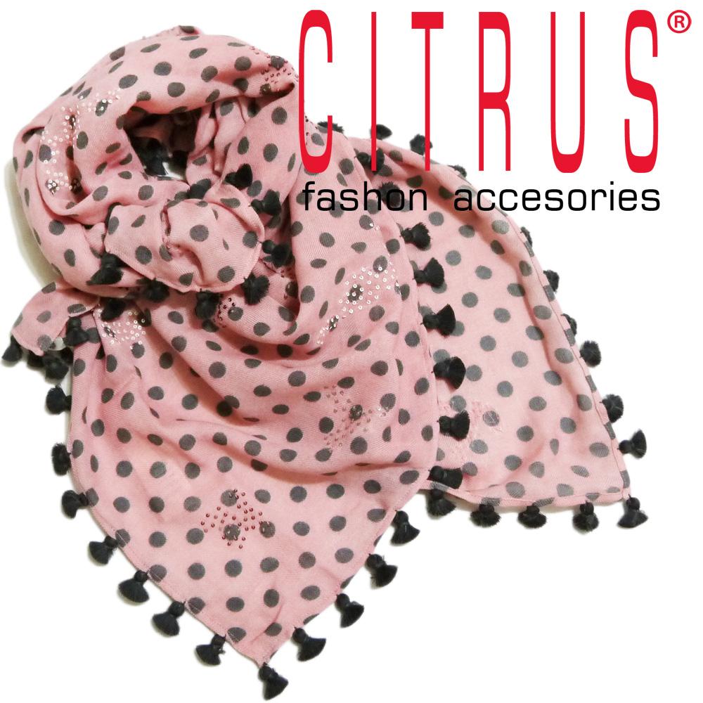 シトラス インド製 ポンポン付き ドット柄 ウールストール(スカーフ) ピンク CITRUS