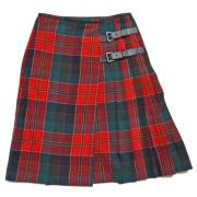 プラダ タータンチェック プリーツスカート 赤 #38 PRADA