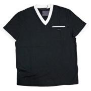 プラダ メンズ バイカラー VネックTシャツ 黒 #M  PRADA