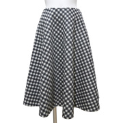 プラダ フランネルウール フレアースカート ギンガムチェック 黒×白 #38 PRADA