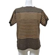 プラダ ボーダー柄 半袖セーター(ニット) 茶 #38 PRADA