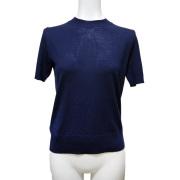 プラダ ウール クルーネック半袖セーター(ニット) ネイビー #40 #42 PRADA