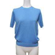 プラダ ウール クルーネック半袖セーター(ニット) サックスブルー #40 PRADA
