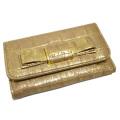 ミュウミュウ リボンが可愛い クロコ型押しレザーキーケース ゴールド(ORO) 5M0222 miu miu