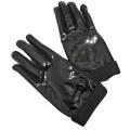 ミュウミュウ クールなエナメルレザー手袋 黒 #7.5  miu miu