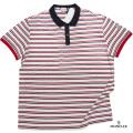 モンクレール メンズ 鹿の子ポロシャツ ボーダー 赤×白×黒 #M #L  MONCLER