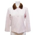 プラダ ミンクファー襟 長袖ポロシャツ ピンク #S PRADA