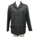プラダ 個性的でクールなジャケット ウール×シルク 黒 #38 PRADA