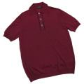 プラダ メンズ 薄手 半袖ポロニットシャツ ワインレッド #50 PRADA