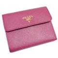 プラダ サフィアーノレザー 三つ折り財布 1M0170 ピンク(IBISCO) PRADA