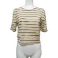 プラダ シルク混 半袖ニットセーター ボーダー 黄色 #40 PRADA