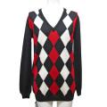 プラダ Vネック ダイヤチェックセーター(アーガイル) 黒×赤 #40 PRADA