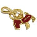 プラダ 犬キーホルダー 赤×ゴールド PRADA