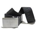 プラダ メンズ メタルバックル ロゴキャンバスベルト 黒 #90 PRADA