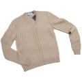 プラダ メンズ アルパカ100% Vネックセーター ベージュ #48 PRADA