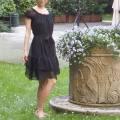 イタリア製 柔らかいシルクシフォン半袖ワンピース 黒 #S
