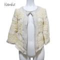 コスミカ イタリア製 ふんわりノーカラージャケット 白 #M kosmika