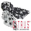 シトラス インド製 星柄 ウールストール 黒×グレー CITRUS