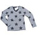 ESTHEME CACHEMIRE パリ発 カシミア100% Vネック星柄セーター グレー #S #M #L