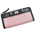ケイトスペード リボンが可愛い L字ファスナー長財布 バイカラー 黒×ピンク kate spade