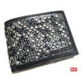 ディーゼル メンズ スタッズ二つ折り財布 ブラック DIESEL