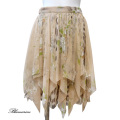 ブルーガール レオパード&花柄 シルクシフォンが贅沢なスカート ベージュ #38 Blugirl(アンナモリナーリ