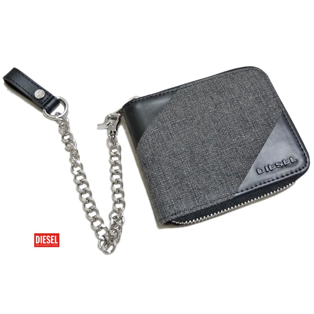 ディーゼル メンズ デニム生地 チェーン付二つ折り財布 ブラック DIESEL