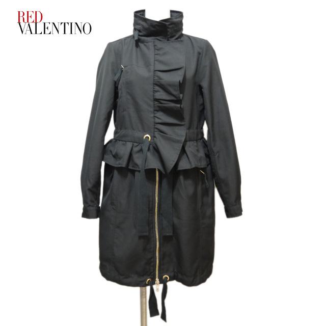 レッドヴァレンチノ チュール裏地が可愛い ナイロンコート #38 黒 RED VALENTINO