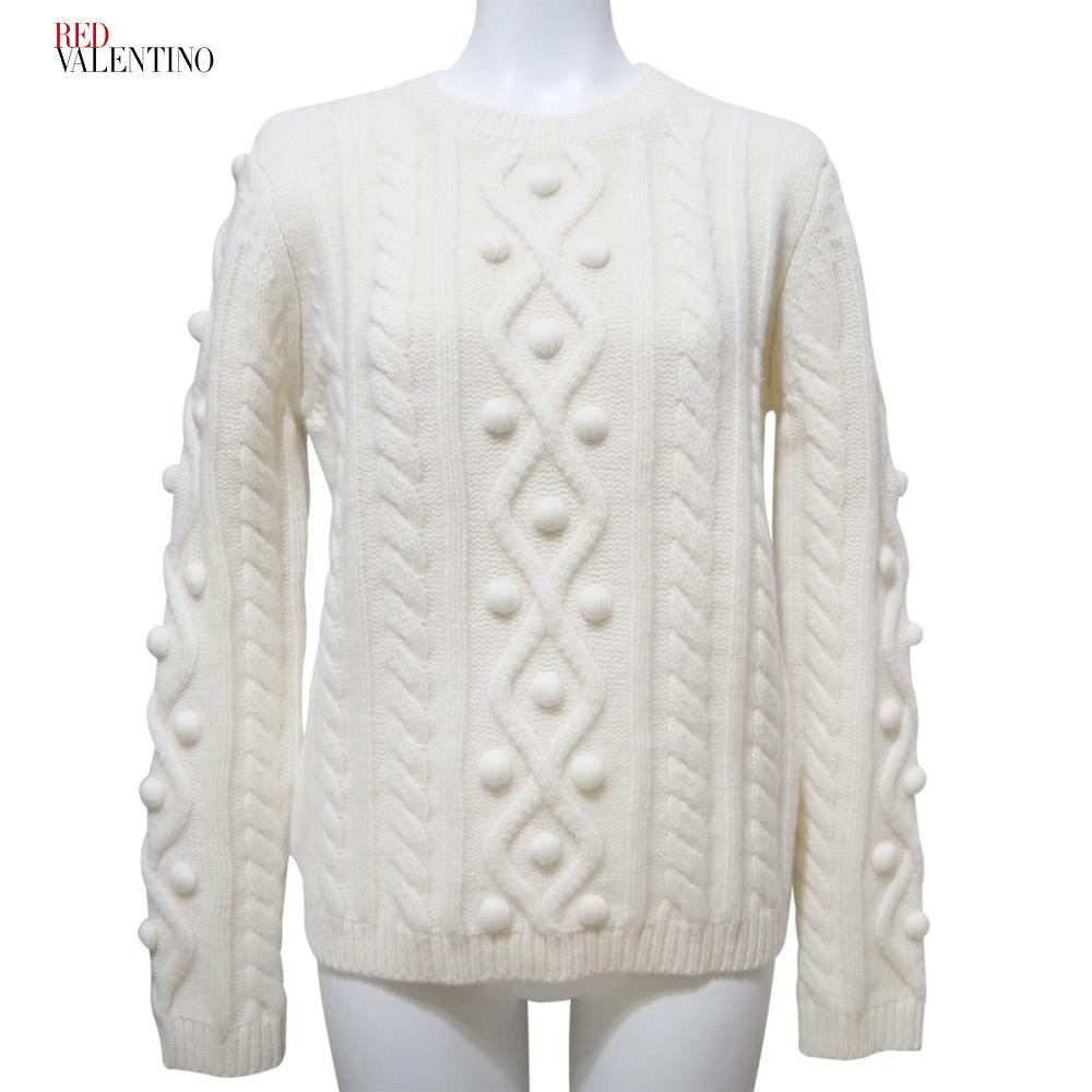 レッドヴァレンチノ ポンポン付きケーブル編みセーター 白 #S RED VALENTINO