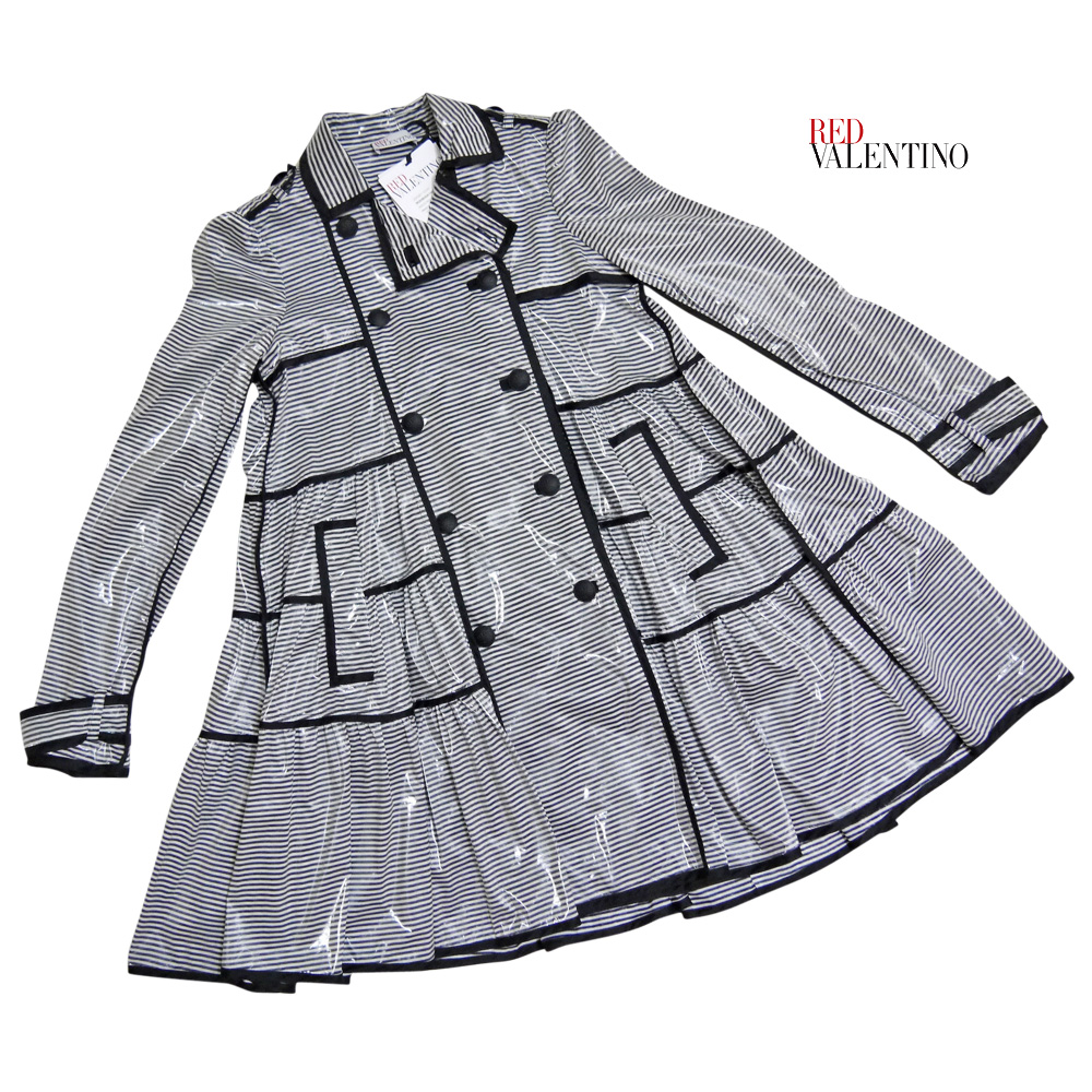 レッドヴァレンティノ ボーダー フレアースプリングコート(トレンチコート) 黒×白 #S RED VALENTINO