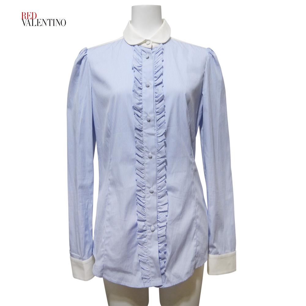 レッドヴァレンティノ フリル ストライプシャツブラウス ブルー×白 #40 RED VALENTINO