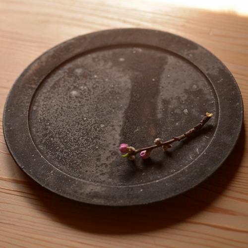 大原光一 黒釉リム皿 21cm
