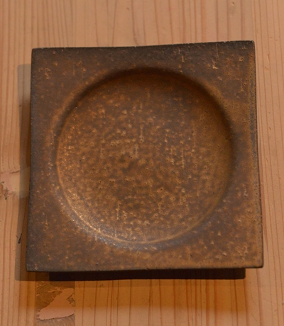 水野幸一 銅彩釉角皿20cm角