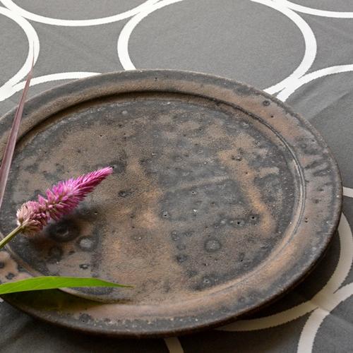 大原光一 黒釉リム皿 23.5cm