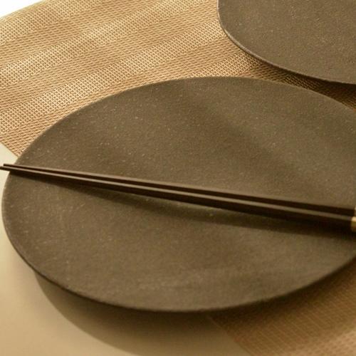 大野香織 黒釉プレート19cm