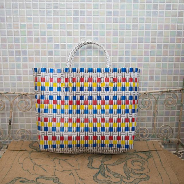 A809 PPバンドのプラカゴ M (青×黄色×赤×グレー×白)