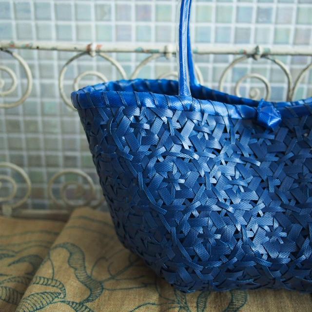 A939 花まる編みのプラカゴ  S  (インディゴ・紺色)