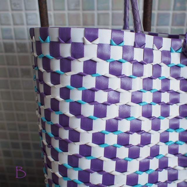 B0028 うろこ編みのプラカゴ   花菱B/L (白×水色×紫)