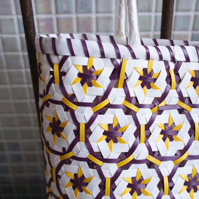 B0056  花まる★なでしこのプラカゴ M(白×紫×黄色)