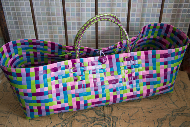 C0233 横長のプラカゴ◆  (ピンク&黄緑) XL