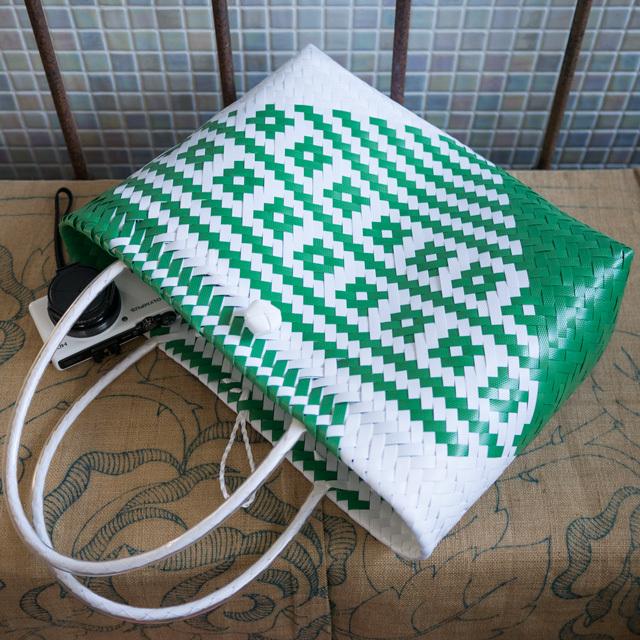 C0348  PPバンドのプラカゴ☆ジグザグ編みのななめ幾何学柄  M (白×緑)B