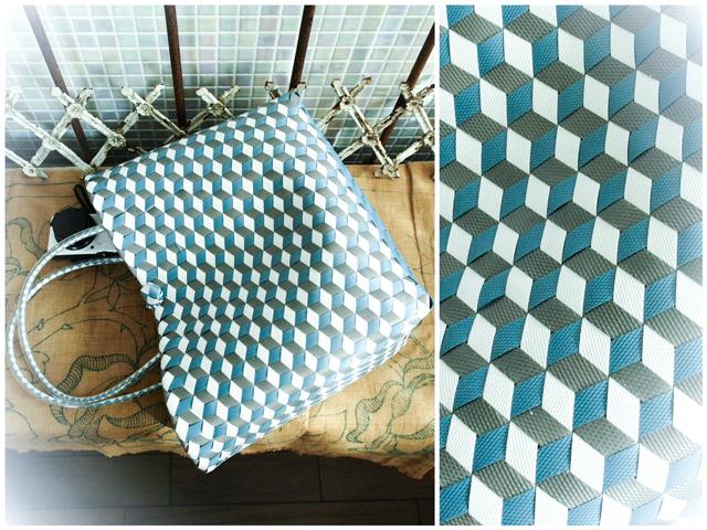 e0013  3Dのひし形斜め編みのプラかご M  (白×グレー×ブルーグレー)