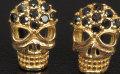 スカル ブラックダイヤモンド(トリートメント) 0.14ct K18YG ピアス  (ドクロ/髑髏/どくろ/がいこつ/頭蓋骨/メレーダイヤモンド/skull/18金イエローゴールド ) 【送料無料】