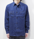 SUGAR CANE 8.5oz. WABASH STRIPE WORK SHIRT