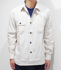 SUGAR CANE Fiction Romance 8.5oz. WHITE WABASH STRIPE WORK SHIRT