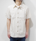 SUGAR CANE 8.5oz. WHITE WABASH STRIPE WORK SHIRT