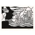 熊谷溢夫の切り絵 原画 『ハーリーの始まり』